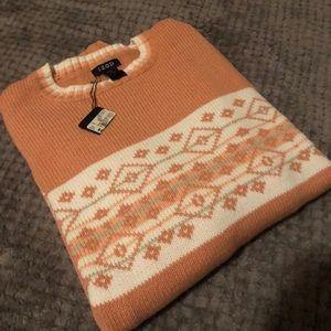 New IZOD orange white peach sweater size L